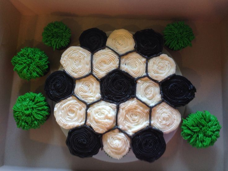 Soccer cupcakes.