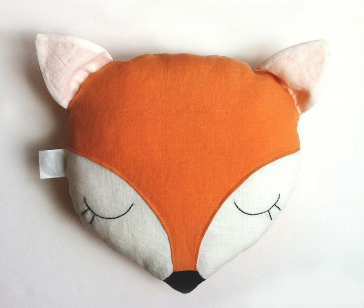 "Sleeping fox pillow. Face features are all hand embroidered. You can also ask to have a name hand embroidered on the back. Simply select the option with embroidered name.100% Certified Organic Linen, naturally dyed with no harsh chemicalsCorn Fiber filling, 100% Biodegradable10"" W x 11"" HAll Dolls"
