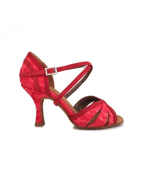 LUCÍA | ZAPATO DE BAILE DE MUJER EN RASO Y ENCAJE ROJO #zapatosdebaile #danceshoes