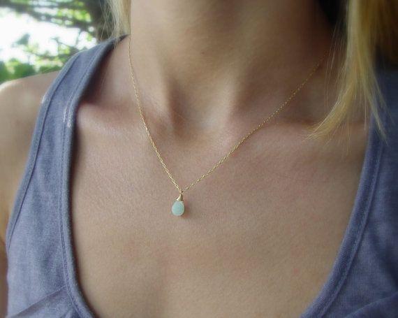 Light Blue Teardrop Necklace, 14K Gold Filled