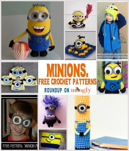 Free Minions Crochet Patterns - a roundup on Moogly!  ☀CQ #crochet #crafts #DIY.  Thank you for sharing! ¯\_(ツ)_/¯