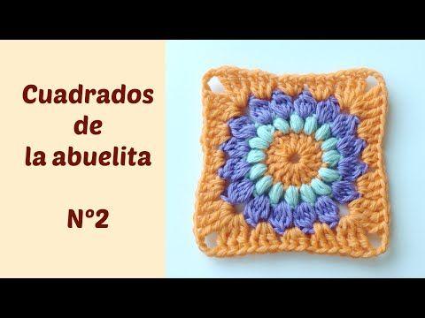 Cuadrados de la abuelita a crochet o ganchillo con flor en el centro N2 - YouTube