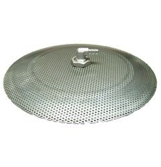 12″ False Bottom, All Stainless Steel Construction.  For use in 10 gallon (or larger) round beverage coolers – See: Igloo 10 Gallon Seat Top.  3/32″ perforated holes on 5/32 cente…