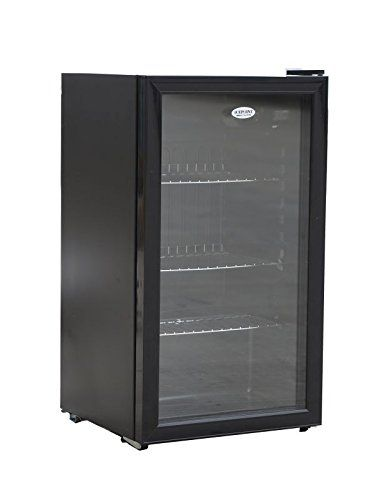 Undercounter Chiller Cooler Fridge - Black. 88 Litre Capacity. Features a Tempered Glass Door (Opens both sides). Perfect for commercial settings: Restaurant, Café, Club or Bar as Display Fridge for Drinks and Food. Also for Home or Office.