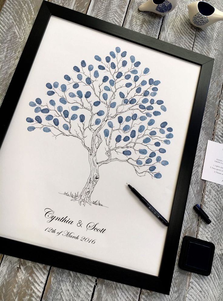 Guest book Tree.  Fingerprint guest book. Large Twisted tree suitable for 80-120 guests from Daisywood. Also available in other sizes 20-40, 40-80 guests. Popular navy blue tones - weddings, corporate events, engagements, birthdays , family trees. etc. Delivery worldwide.