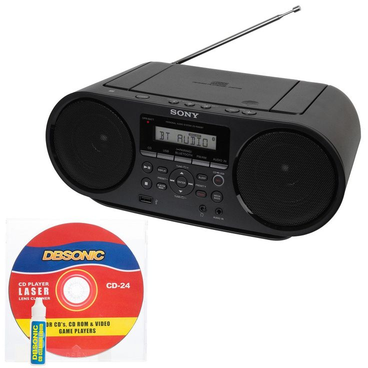 Sony Portable Mega Bass Stereo Boombox Sound System with NFC Wireless Bluetooth, USB Input, MP3 CD Player, AM/FM Radio, 30 Presets, Headphone & AUX Jack - Bonus DB Sonic CD Head Cleaner