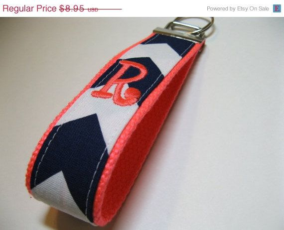 CIJ Christmas In July Monogrammed Chevron Keychain - Design Your Own - Navy White Coral Key Fob on Etsy, $7.61