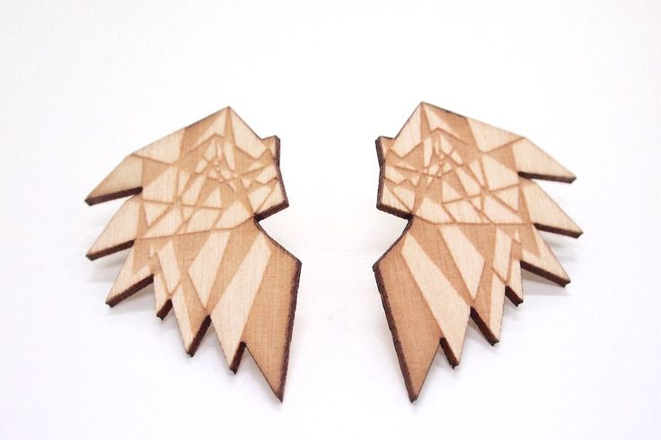 Mori Bird Earrings - Wood via MORI COLLECTIVE. Lasercut - Made In Finland.