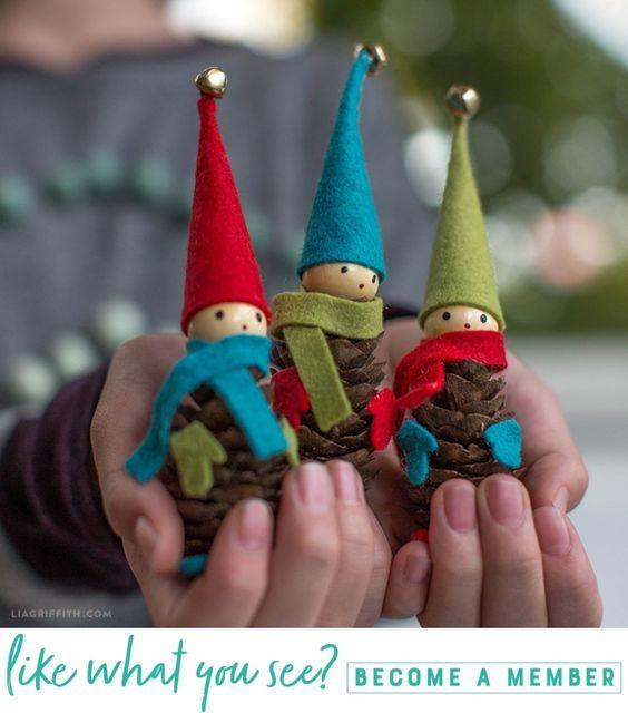 Our #1 Christmas Craft: Pinecone Elves (Video) - Lia Griffith - www.liagriffith.com #diyholiday #diyholidays #diychristmas #felt #feltcute #feltcraft #diyproject #diyprojects #madewithlia