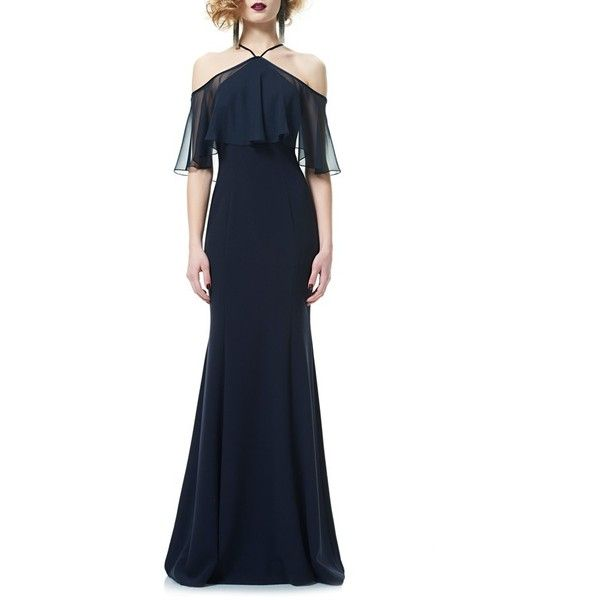 Women's Theia Halter Neck Off The Shoulder Mermaid Gown (3.175 BRL) ❤ liked on Polyvore featuring dresses, gowns, midnight, blue dress, off the shoulder dress, mermaid dress, blue mermaid dress and halter gown