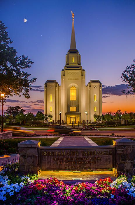 This is the Brigham City Temple at twilight!  I also took pictures of the moon and the stars separately and added them in to this photo!