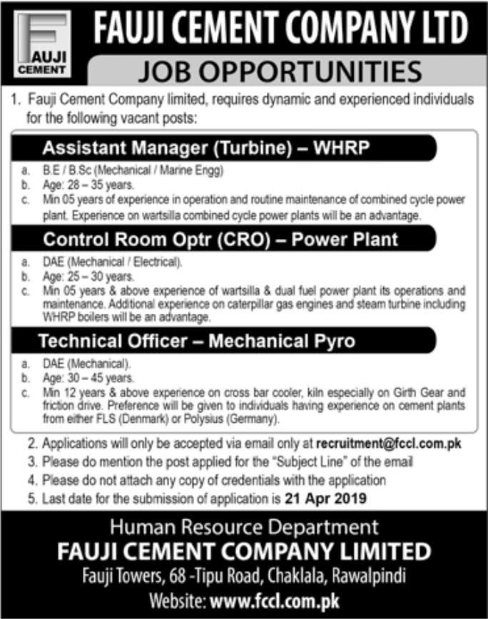 Posts Assistant Manager (Turbine)-WHRP Control Room Operator