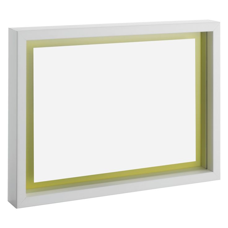 MONRO A4 white reversible floating picture frame. The frame has a reversible coloured backing allowing you to choose either a saffron yellow or elephant grey colour to complement the image.