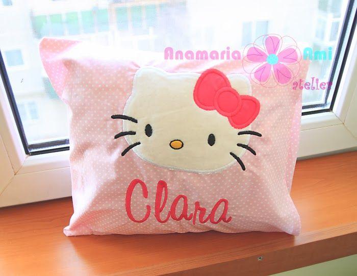 Perna personalizata cadou Hello kitty cu nume by Anamaria Ami Atelier