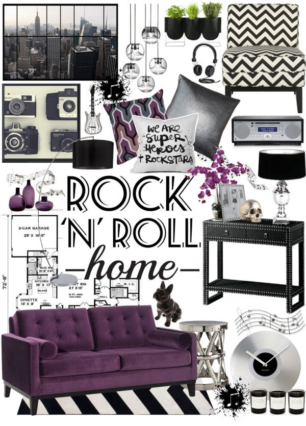 Rock N Roll Home Decor Polyvore Purple Couch Vintage Living Room