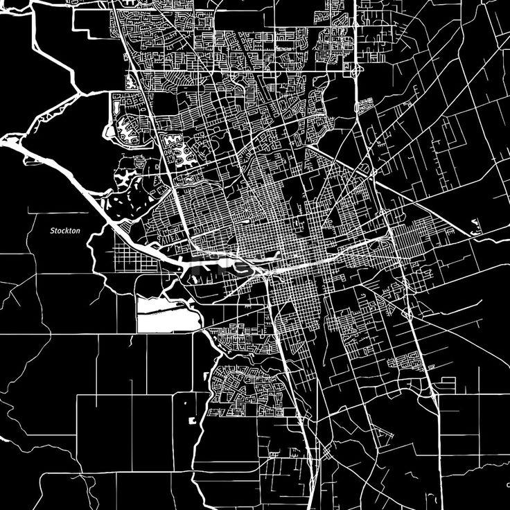 Stockton, California. Downtown vector map.  #american #area #atlas #background #black #california #clean #design by #Hebstreit