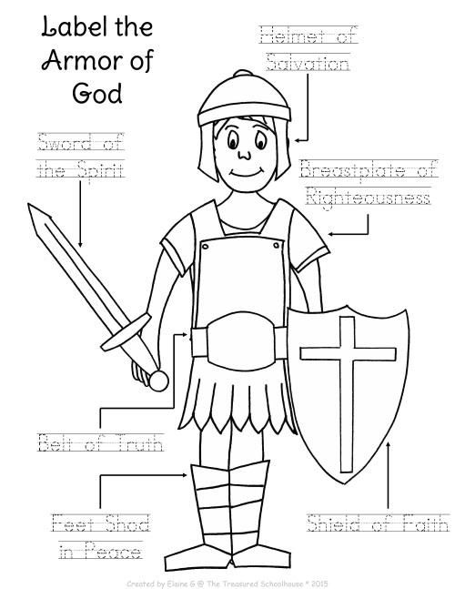 Image result for the whole armour of god printable page