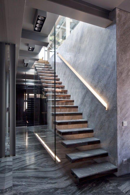 Casas minimalistas y modernas escaleras proyecto casa - Barandillas escaleras modernas ...