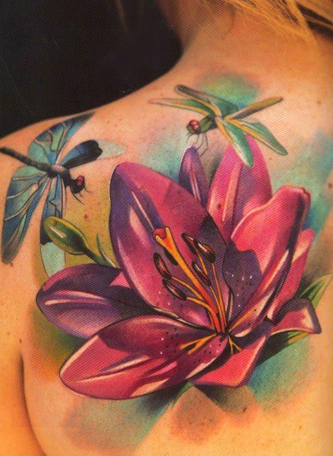 Dragon Tattoo With Flowers: Flowers And Dragonflies