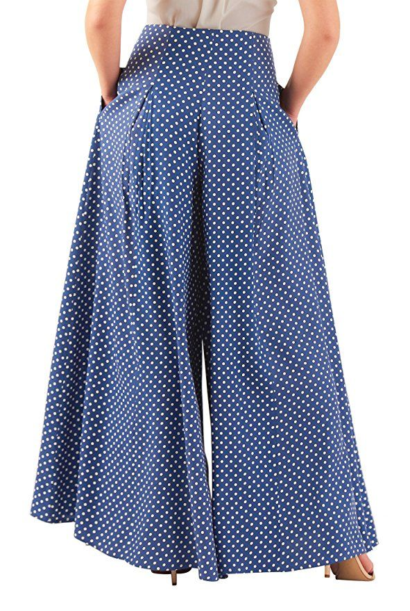 1930s Polka dot print pleated palazzo pants beach pajamas high waist wide leg $67.95 AT vintagedancer.com