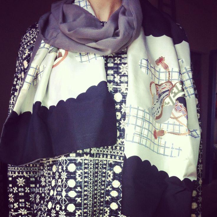 sciarpa realizzata con seta vintage di kimoni giapponesi