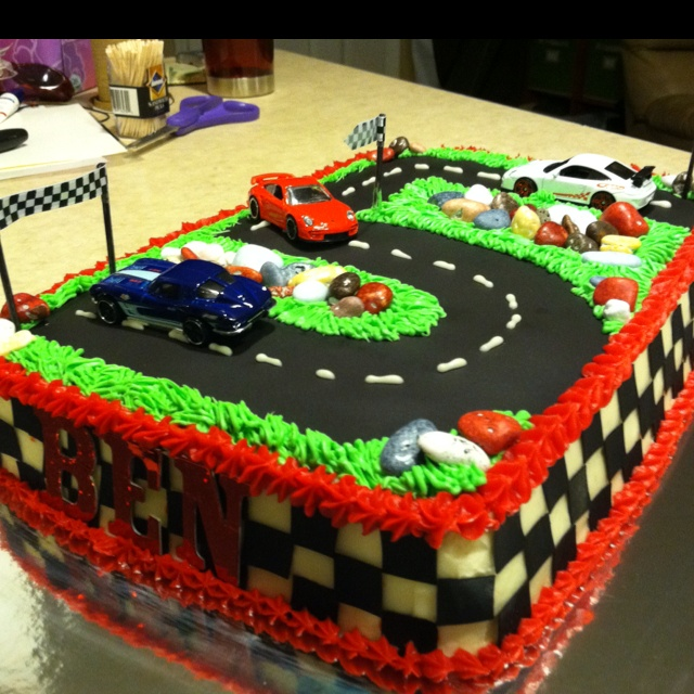 Race car cake for a NY giants loving little boy:)