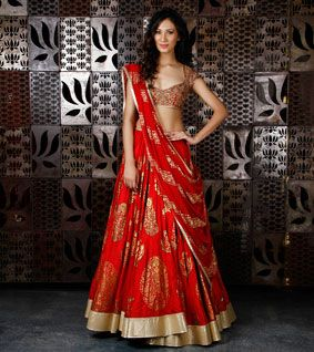 Red Chanderi Silk Lehenga with Foil Print