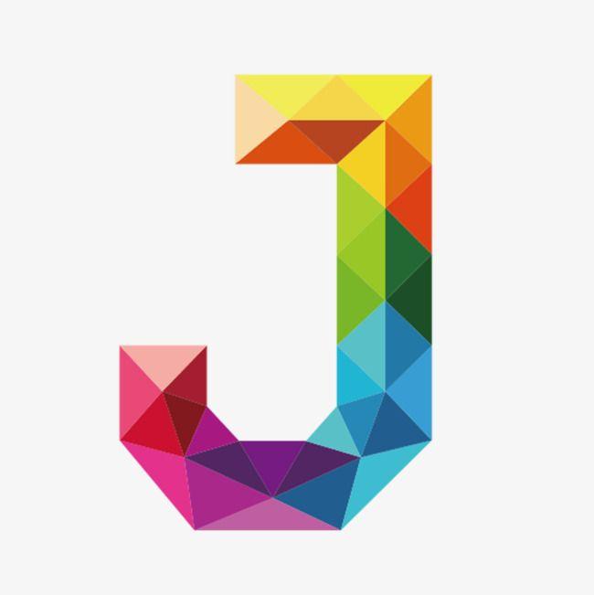 Colorful Letters J Polygon Art Letter J Letter Symbols