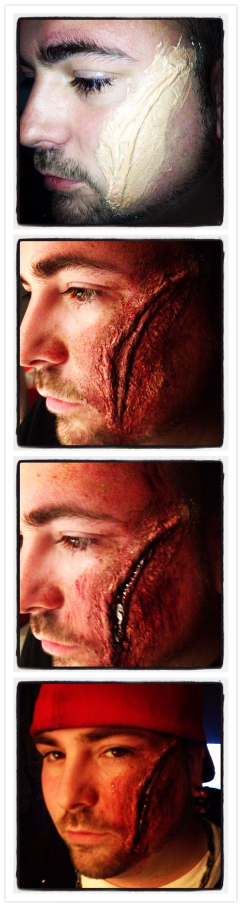Great idea for a Halloween costume!! Use skin colored tissue paper, liquid latex, stage make-up, and a little fake blood and you've got open wounds with redness and bruising! Great for all kinds of costumes, peel back the liquid latex for rotten looking zombie flesh! :) #costumes #zombie #crafts
