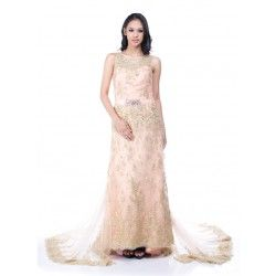 Golden Lace Formal Evening Gown. Gaun Malam Tradisional Indonesia.