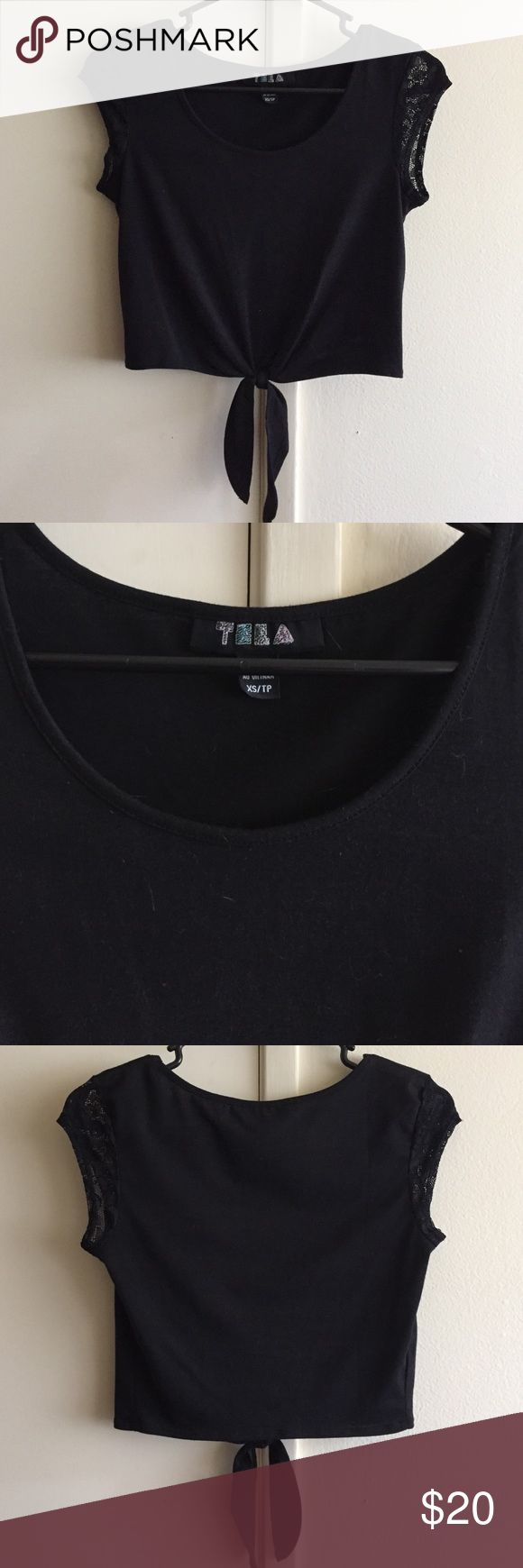 Tela black crop top Perfect for high waisted jeans or shorts and a night out or for day time Urban Outfitters Tops Crop Tops