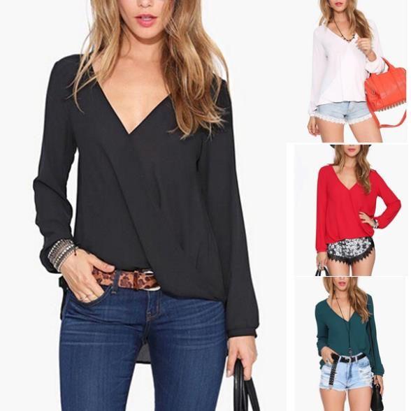 Cheap Sexy cuello en V profundo camisa mujer Blusas rojo negro blanco Blusa de la gasa Tops Camisas Blusas femeninas 2014 Blusa Roupas, Compro Calidad Blusas y Camisas directamente de los surtidores de China:                                                                 Tamaño       Busto       Cintura       Comp
