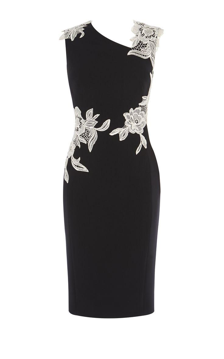 Karen Millen, FLOWER EMBROIDERED DRESS Black & White