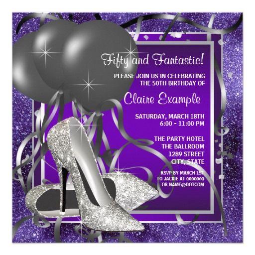 Elegant Purple High Heels Birthday Party Invitation
