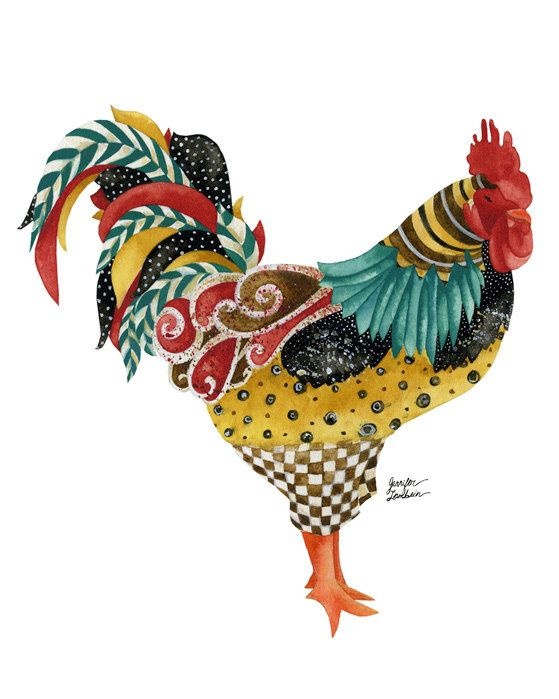 11x14 Art Print. Rooster Mardi Solo White by TheOpulentNest, $22.00.  Lovely.  I need to do a chicken/rooster rug!