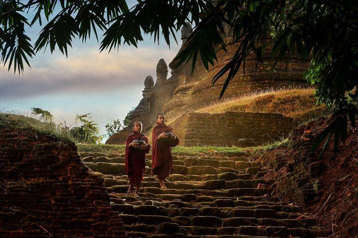 Novice monks ,Mrauk-u Myanmar