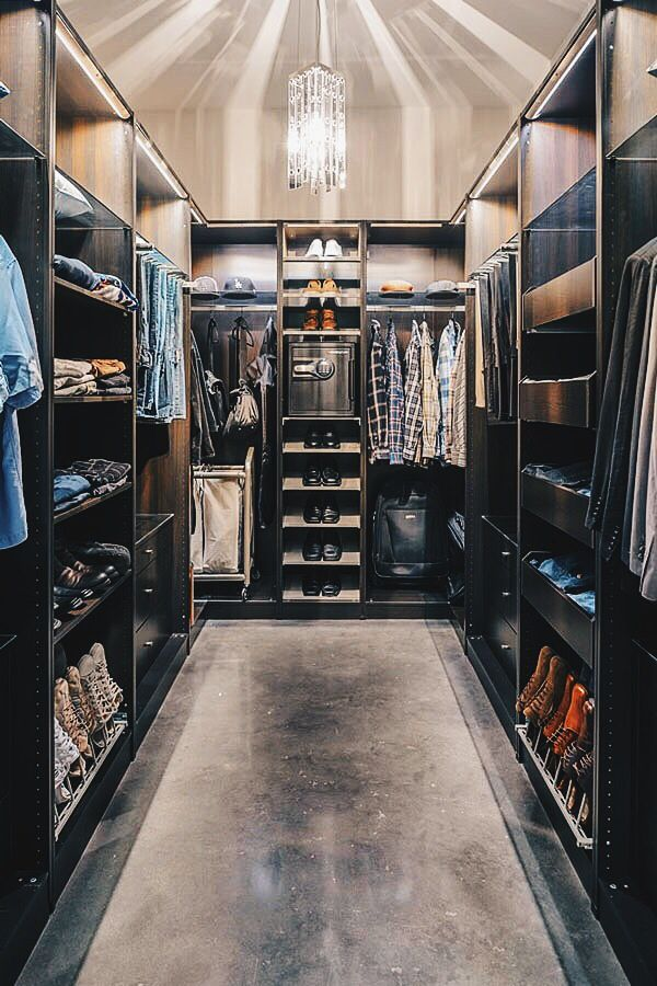 Need ideas for a masculine walk-in closet? Check these rich, dark and luxurious walk-in closets for men. They're amazing.