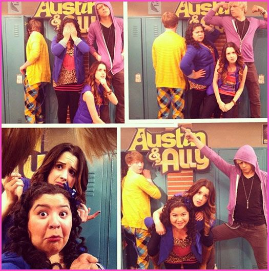 "Raini Rodriguez, Ross Lynch, Laura Marano And Calum Worthy Have Fun On The Set Of ""Austin & Ally"""