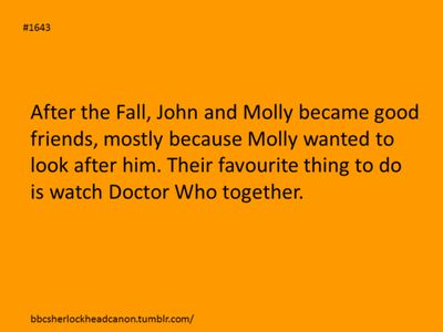 You could imagine Sherlock saying that certain parts of Dr.Who didn't coincide with each other and Molly telling him to be quiet at a suspenseful part.