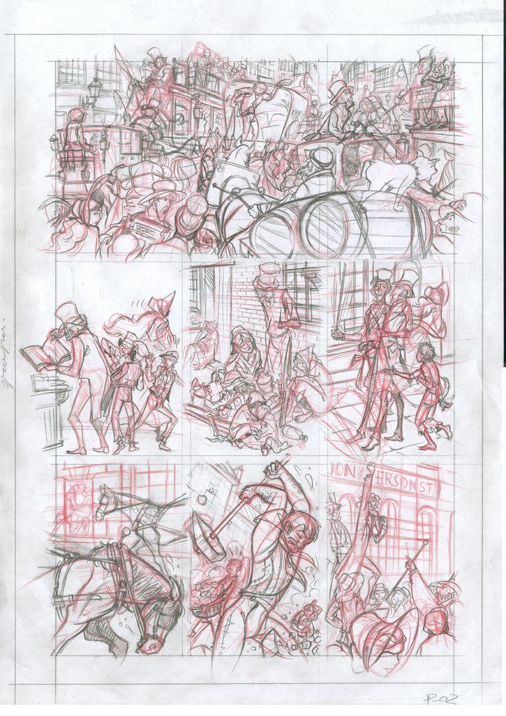 Página descartada 01: lápiz rojo y de grafito sobre papel dinA3: 100 € David Belmonte ©