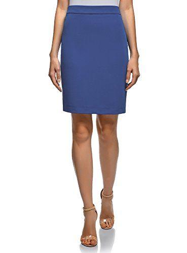 bb37397ac oodji Collection Mujer Falda Básica Recta Azul ES 36 / XS | Faldas ...