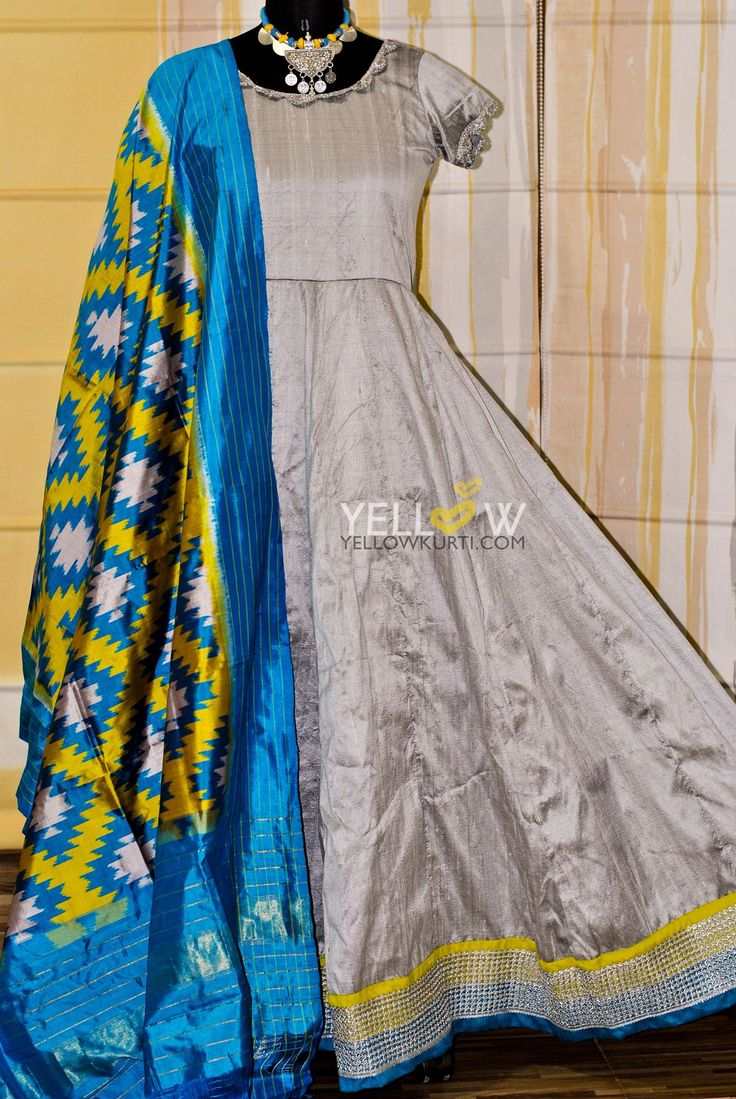 Silver Rawsilk anarkali teamed up with vibrant blue and yellow Ikat dupatta Custom made for a client. 28 August 2016