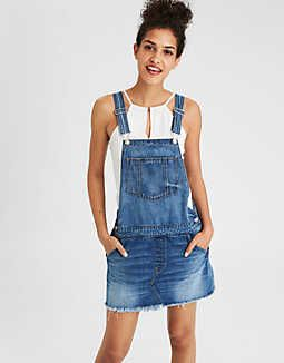8cb08adc AE Tomgirl Overall Skirt, Medium Indigo | American Eagle Outfitters ...