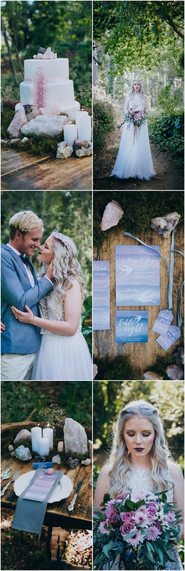 Eclectic Earth: Geode and Crystal Wedding Ideas: Celebrate mother nature's earthy beauty with geode and crystal wedding ideas. Rose quartz garlands, geodes, foraged wood & moss create mystique + magic in the forest.http://www.confettidaydreams.com/geode-and-crystal-wedding-ideas/ via @confettidaydreams Styling: HAPPINEST Photography Lauren Pretorius