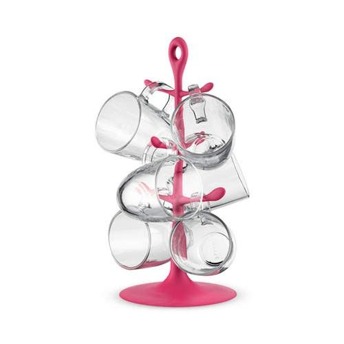 Bodum Mug Tree w/ 6pc Glass Mugs Pink