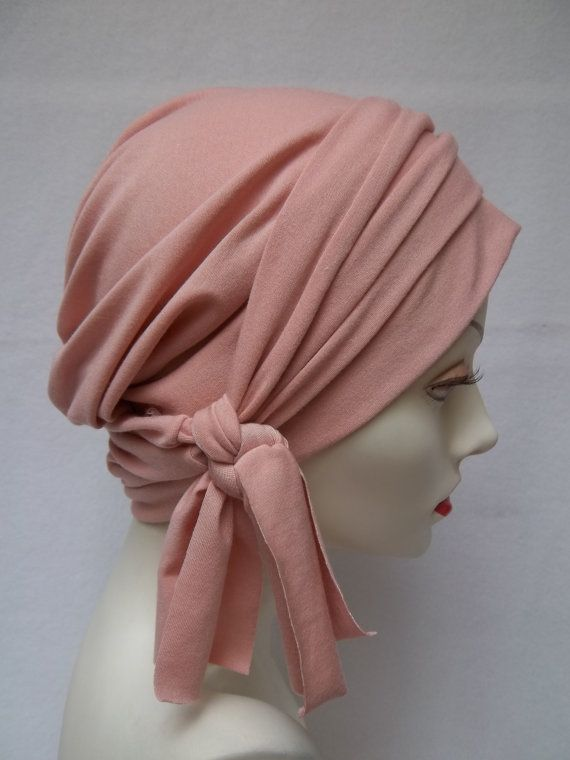 Slouch Hat Summer Pink Rayon Jersey Light Chemo Cap Scrub Cap Head Covering via Etsy