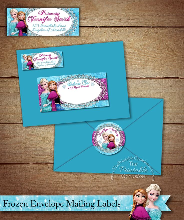Frozen Address Labels and Envelope Seal, Frozen Return Address Label, DIY Printable Envelope Mailing Labels, Frozen Mailing Envelope Labels by ThePrintableOccasion on Etsy https://www.etsy.com/listing/226242481/frozen-address-labels-and-envelope-seal