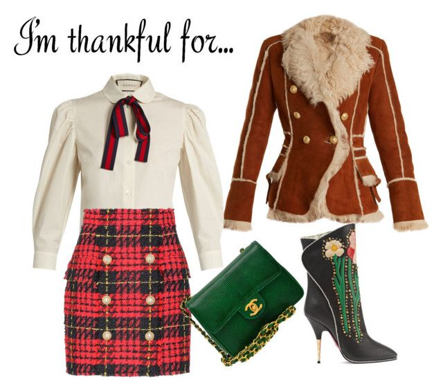"""""""Fashion #thanksgiving"""" by ralugoii on Polyvore featuring Balmain, Gucci and Chanel"""