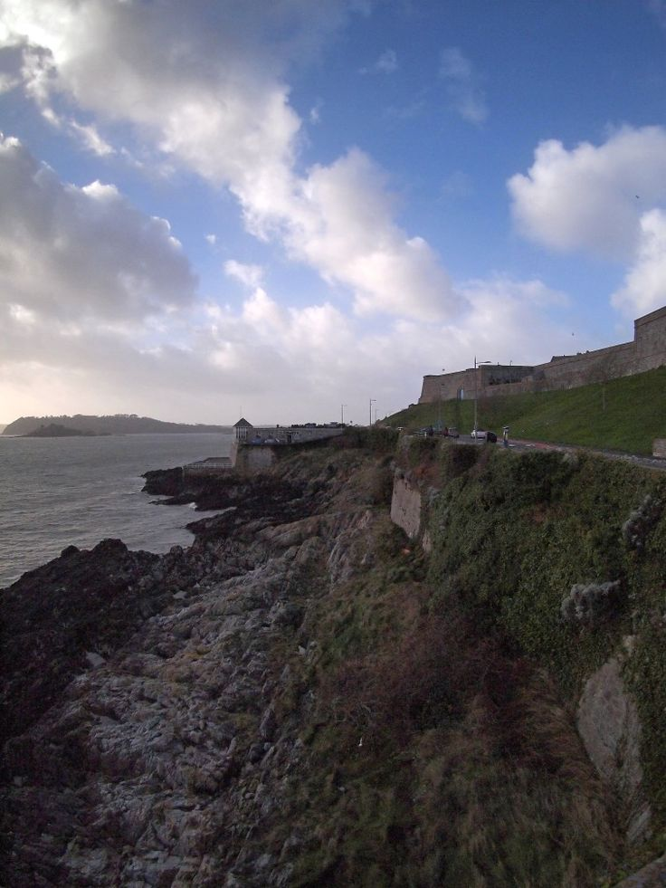 Plymouth Sound. Drake's Island to the left and the Royal Citadel to the right. January 2018.