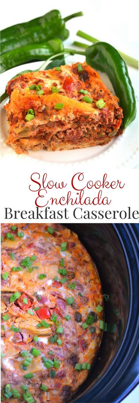 Slow Cooker Enchilada Breakfast Casserole is a delicious egg bake made in the crockpot with chorizo, sautéed bell peppers, tomatoes and corn tortillas! Don't miss out on the recipe!